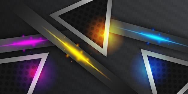 Schwarzer abstrakter diagonaler überlappungsschichtenhintergrund mit roter blauer gelber heller dreieckdekoration
