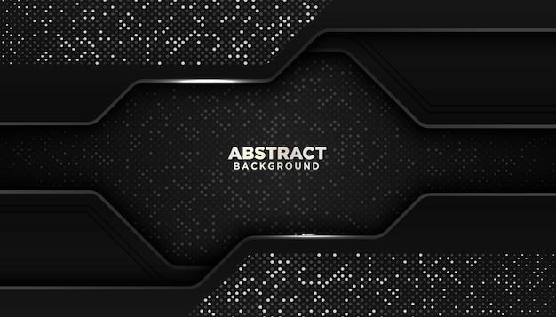 Schwarzer abstrakter geometrischer hintergrund mit funkeln punktiert elementdekoration