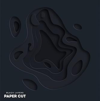 Schwarzer abstrakter hintergrund 3d mit weißbuch schnitt formen.