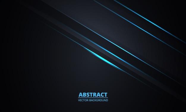 Schwarzer abstrakter hintergrund. dunkelgrauer hintergrund mit blauen leuchtenden linien und glanzlichtern.