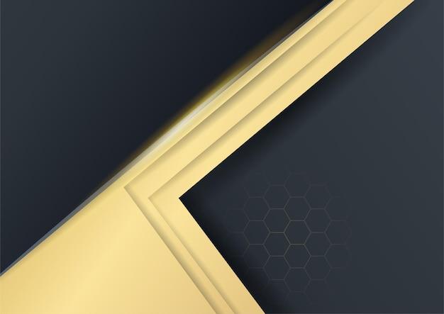 Schwarzer abstrakter hintergrund mit goldenen linien. schwarzer goldhintergrund überlappt dimension abstrakte geometrische moderne. eleganter marineschwarzgoldhintergrund mit überlappungsschicht. anzug für business und corporate