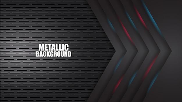 Schwarzer abstrakter hintergrund mit roten und blauen geometrischen formen