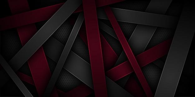 Schwarzer abstrakter hintergrund mit überlappenden eigenschaften.