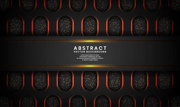 Schwarzer abstrakter luxushintergrund mit ovalem metallischem, deckschicht auf dunklem raum mit goldenen linien und punkten funkelt