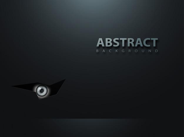 Schwarzer abstrakter moderner hintergrund. das auge schaut aus dem dunkeln.
