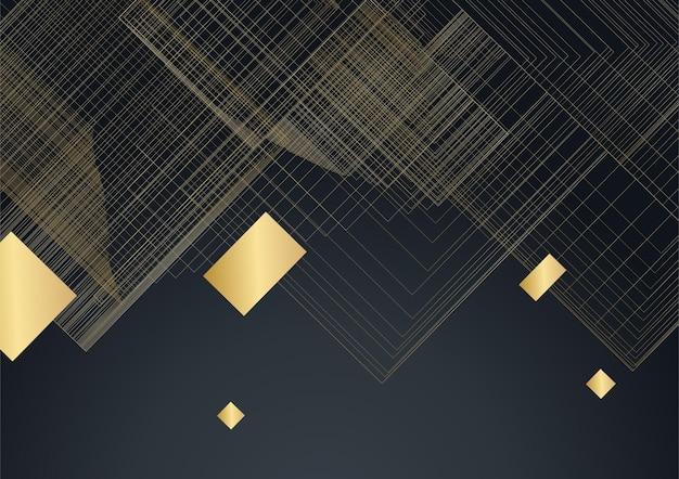 Schwarzer abstrakter präsentationshintergrund. schwarzer goldhintergrund überlappt dimension abstrakte geometrische moderne. eleganter marineschwarzgoldhintergrund mit überlappungsschicht. anzug für business und corporate
