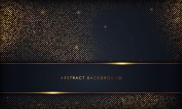 Schwarzer abstrakter überlappungshintergrund des luxus mit goldlinie. textur mit goldenem glitzerelement.