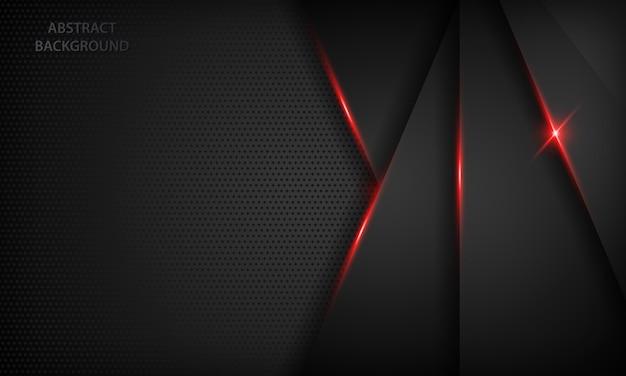 Schwarzer abstrakter überlappungshintergrund. textur mit rot metallic-effekt.