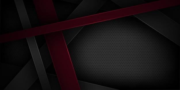 Schwarzer abstrakter vektorhintergrund mit überschneidungsmerkmalen.