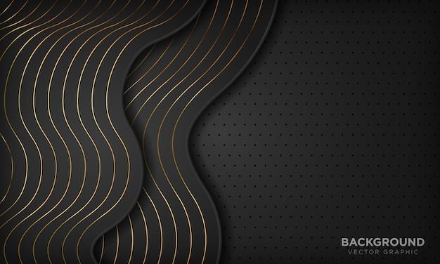 Schwarzer abstrakter wellenluxushintergrund mit goldenen linien.