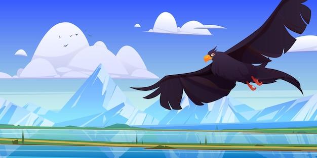 Schwarzer adlerfalke oder falke mit ausgebreiteten flügeln
