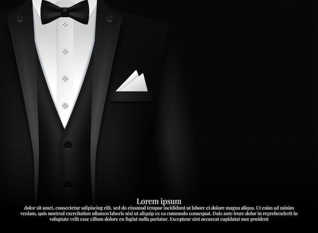 Schwarzer anzug und smoking mit fliege