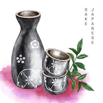 Schwarzer aquarell japanischer sake und stäbchen