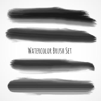 Schwarzer aquarellbürstensatz