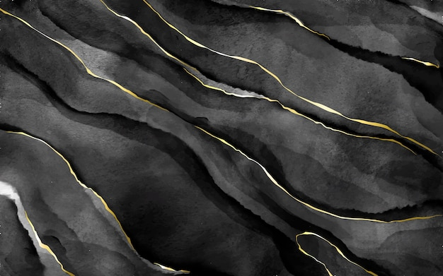 Schwarzer aquarellstein mit goldenen adern