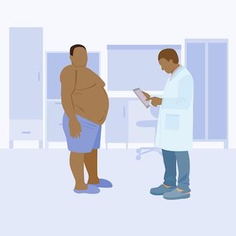 Schwarzer arzt und fetter patient der arzt untersucht den fettleibigen fetten schwarzen mann des patienten vektor
