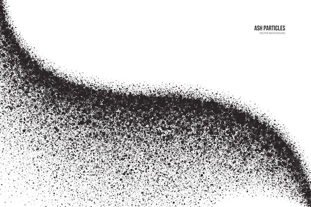 Schwarzer aschepartikel-sprüheffekt abstrakter grunge-hintergrund