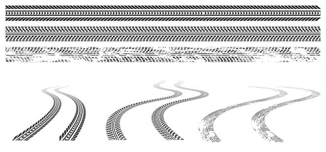 Schwarzer autoreifen verfolgt gummiraddruck auf straße