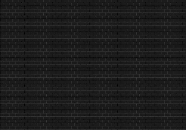 Schwarzer backsteinmauerhintergrund. nahtloser mustervektor der ziegelsteinbeschaffenheit.
