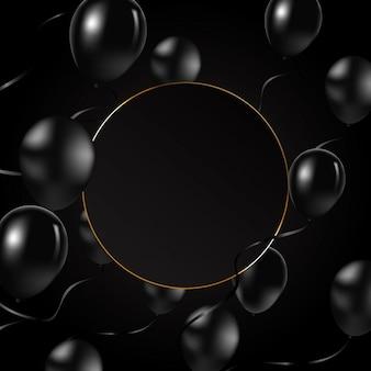 Schwarzer ballonhintergrund mit feld und schwarzen ballonen.