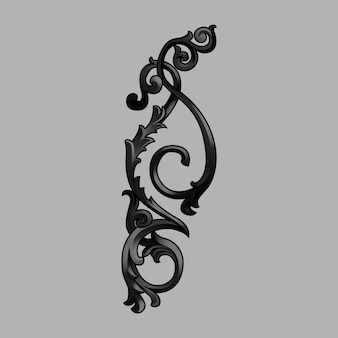 Schwarzer barocker blumenelementvektor