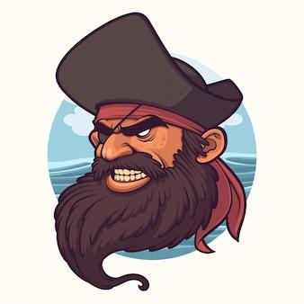 Schwarzer bart-piraten-karikatur-illustration mit ozean-hintergrund