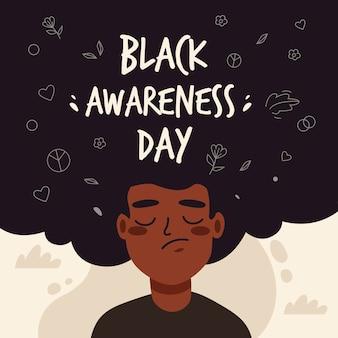 Schwarzer bewusstseins-tag des flachen entwurfs
