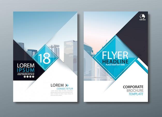 Schwarzer blauer flyer, deckblattvorlage, layout im format a4.
