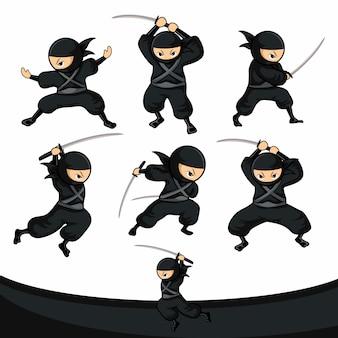 Schwarzer cartoon-ninja benutzt das schwert als waffenset