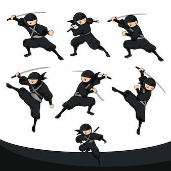 Schwarzer cartoon ninja kick und bereit für den angriff in der realversion