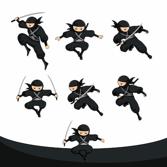 Schwarzer cartoon-ninja-sprung in der realversion