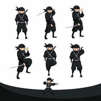 Schwarzer cartoon ninja stand in echten versionen