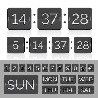 Schwarzer countdown-timer und anzeigetafelnummern.