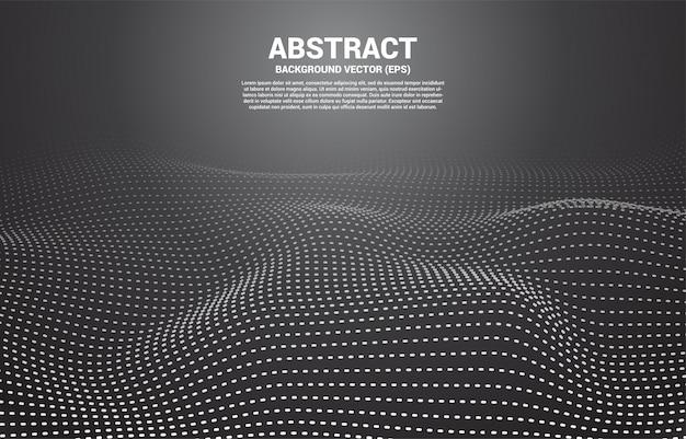 Schwarzer digital contour-kurvenpunkt und linie und welle mit drahtgitter. abstrakter hintergrund für futuristisches konzept der technologie 3d