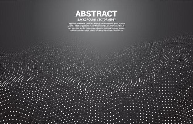 Schwarzer digital contour-kurvenpunkt und linie und welle mit drahtgitter