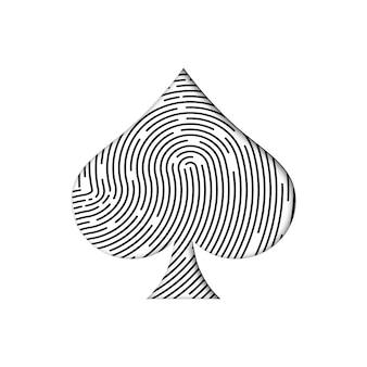 Schwarzer fingerabdruck in form eines spatenanzugs