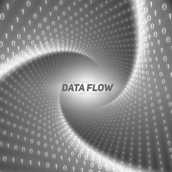 Schwarzer fluss von big data als binärzahl-strings, die im tunnel verdreht sind.
