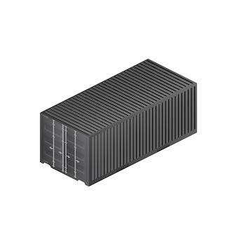 Schwarzer frachtcontainer. großer container für ein schiff isoliert