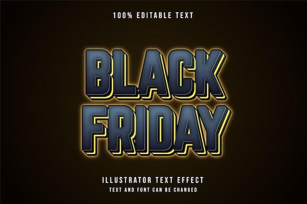 Schwarzer freitag, 3d bearbeitbarer texteffekt graue abstufung gelber neontextstil