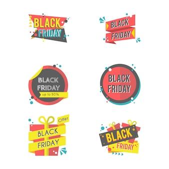 Schwarzer freitag-aufkleber mit moderner flacher art