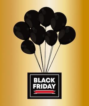 Schwarzer freitag banner mit luftballons