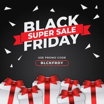 Schwarzer freitag-banner mit speziellem geschenkvektor