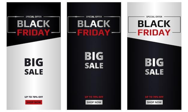 Schwarzer freitag, bannersammlung. schwarzer freitag dunkle und silberne vertikale banner gesetzt. großer verkauf, sonderangebot