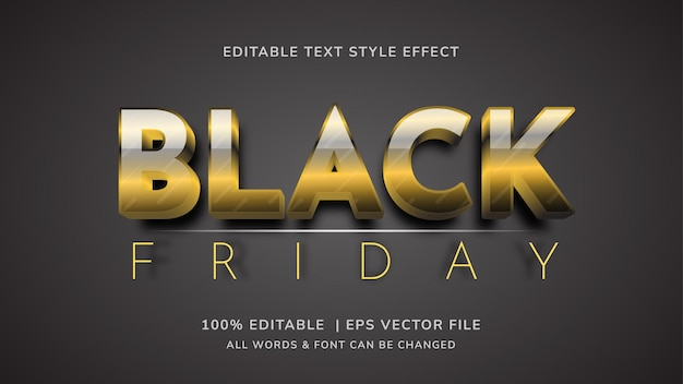 Schwarzer freitag bearbeitbarer 3d-gold-vektor-text-stil-effekt. bearbeitbarer illustrator-textstil.