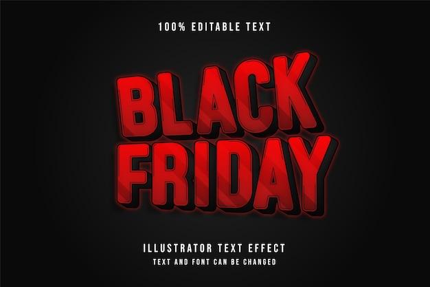 Schwarzer freitag, bearbeitbarer 3d-texteffekt rote abstufung schwarzer neonstileffekt