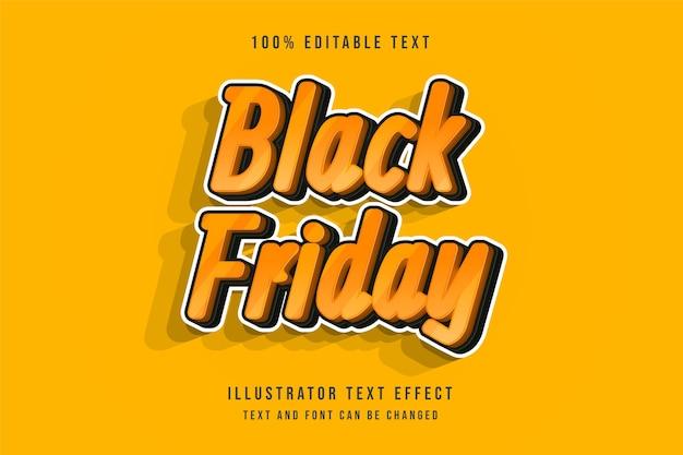 Schwarzer freitag, bearbeitbarer texteffekt 3d schwarzer gelber comic-schattenstileffekt