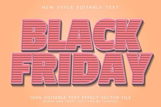 Schwarzer freitag bearbeitbarer texteffekt prägung im vintage-stil