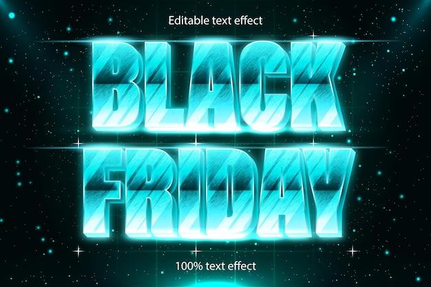 Schwarzer freitag bearbeitbarer texteffekt retro mit modernem stil