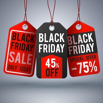 Schwarzer freitag-einkaufsvektorhintergrund mit papierverkaufspreis. verkaufsaufkleber und sonderangebotspreisillustration