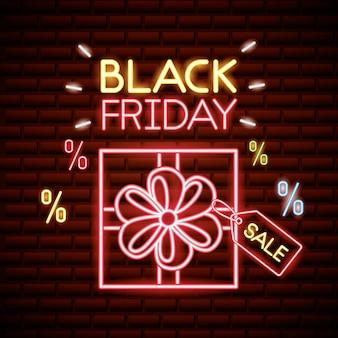 Schwarzer freitag-einkaufsverkauf in den neonlichtern